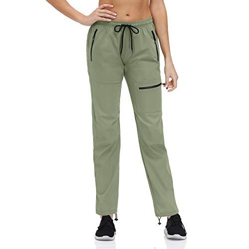 KAXI Pantalones Deportivos para Mujer con Bolsillos con Cremallera Pantalones De Senderismo De Secado Rápido De Corte Holgado Pantalones Deportivos De Senderismo Pantalones De Golf,Bean Green,XL