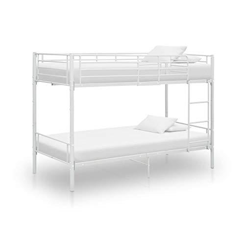 vidaXL Cama Litera Dormitorio Habitación Infantil Doble para Niños Juevenil Robusta Escalera Estable y Duradera de Metal Blanca 90x200 cm
