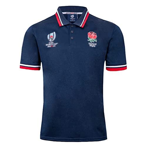 Camiseta de rugby de Inglaterra de la Copa del Mundo 2019 Camiseta de aficionado transpirable de secado rápido Camiseta de polo Camiseta deportiva informal Camiseta de fútbol de manga corta Azul