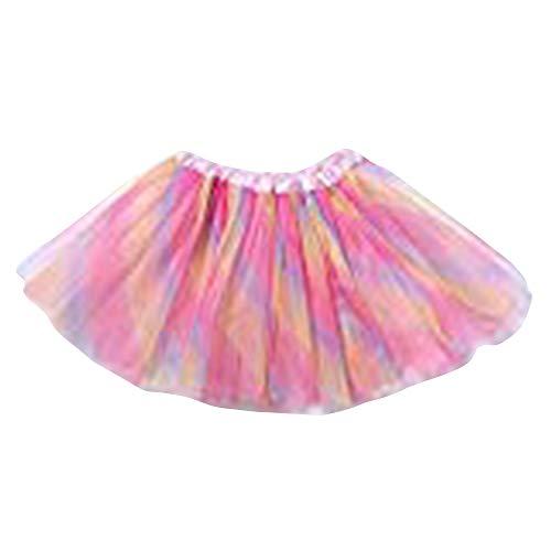 Ballerina Tütü Tutu für Mädchen in 4 Party Rock Glitzer tüll - perfekt für Fasching, Karneval oder Kindergeburtstag (Regenbogen)