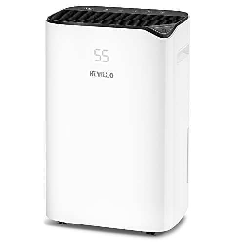 HEVILLO 2000 Sq. Ft Dehumidifier for Home Basements Bedroom Garage, with Continuous Drain Hose and Wheel, 0.66 Gallon Water Tank Capacity, Intelligent Humidity Control