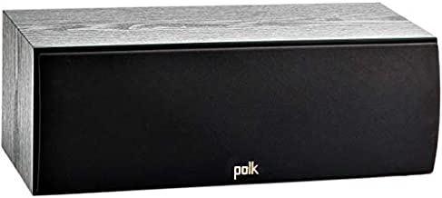 Polk Audio T30 100 Watt Home Theater Center Channel Speaker - Hi-Res Audio with Deep Bass Response | Dolby and DTS Surround | Single, Black