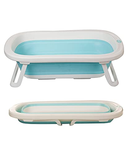 INFANTSO Silicone Compact & Foldable Baby Bath Tub with Anti Skid Base (Blue)
