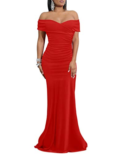 WHONE Women's Sexy Off Shoulder Bodycon Cocktail Formal, Red, Size X-Large