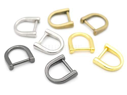 CRAFTMEMORE 25pcs D Rings Metal Horseshoe Shape D-Ring for Purse Zipper Lanyard DIY Craft - Pick Color! PT81 (3/8 Inch, Gunmetal)