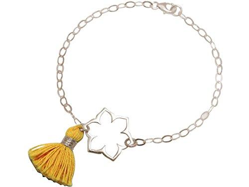 Gemshine - Pulsera - Plata de Ley - Flor de Loto - Mandala - Borlas - Amarillo Oro - YOGA