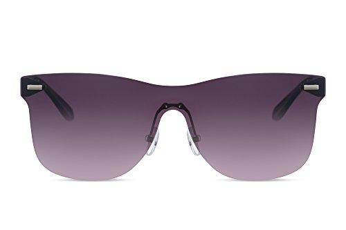 Cheapass Gafas de sol Estilosas Plástico Deportivas Negras Ahumadas Lisas Redondas Lenses Protección UV400