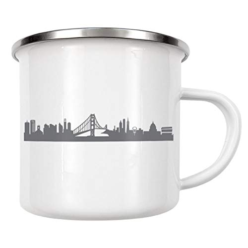 artboxONE Emaille Tasse San Francisco 02 Monochrom von 44spaces - Emaille Becher Städte