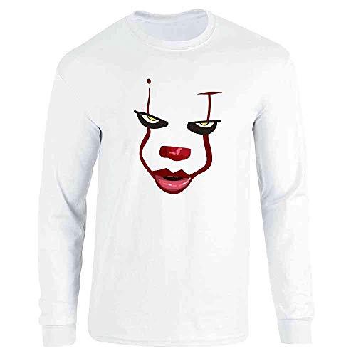 Pop Threads Clown Face Horror Scary Movie Halloween Costume White S Full Long Sleeve Tee T-Shirt