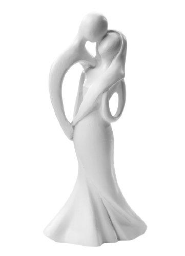 Brautpaar: küssendes Hochzeitspaar, 10 cm, weiß, moderner Stil, Polyresin
