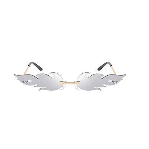 jojofuny Feuer Flamme Gläser Frauen Vintage Welle Randlose Sonnenbrille 90S 2000S Gold Metall Rahmenlose Brillen Neuheit Flamme Sonnenbrille Randlose Sonnenbrille für Frauen Männer