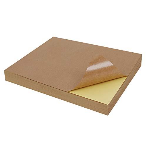 50pcs A4 autoadhesivo marrón Kraft pegatina papel impresión copia etiqueta papel hoja completa para impresora de inyección de tinta marrón