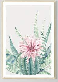 JXMK Nórdico Moderno Simple Flor Cactus equinodermo decoración Lienzo Pintura Sala de Estar Pintura al óleo Pared 40x50cm