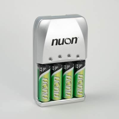 Nuon - NURECH4-4B 1.2V Nuon AA 4 Pack Rechargeable with 4 Hour Charger