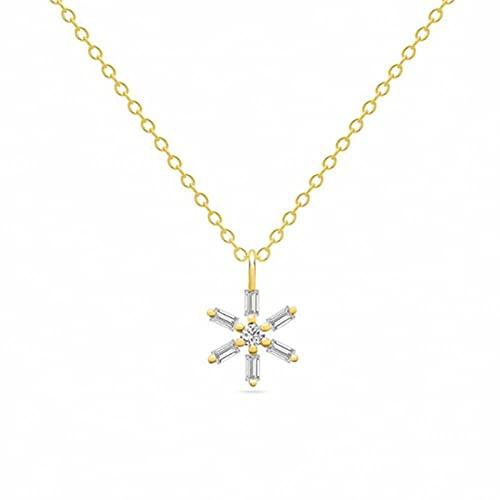 Zjxxm Collares de clavícula de Copo de Nieve con Cristales para Mujer, Collar con Colgante de Oro,Gargantilla de Plata esterlina 925,Collares