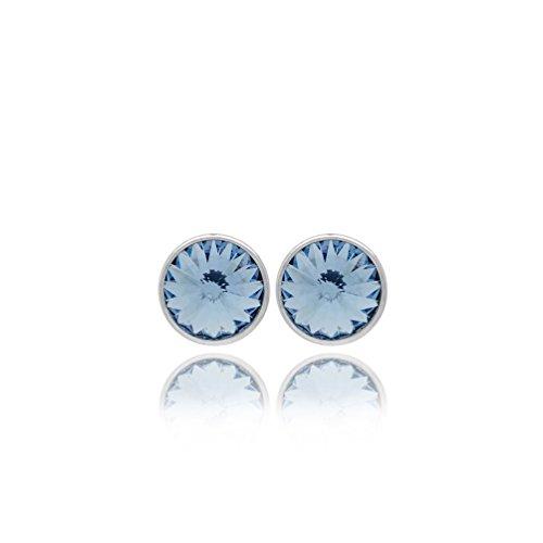 Pendientes redondos plata Victoria Cruz cristales color zafiro A2791-9T