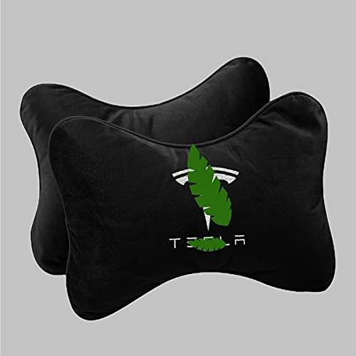 WYYUE 2 Piezas Neck Support Pillow, Viaje Asiento de Coche Reposacabezas, Viscoelástica de Almohada de Cuello con patrón de Logotipo Compatible con Tesla Model 3 Model S Model X