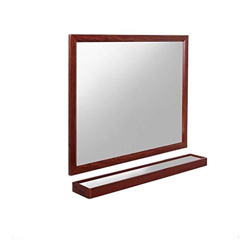 WEHOLY Wand-Kosmetikspiegel Schminkspiegel Wohnzimmerspiegel Wand Großes Holz, WC-Badezimmerspiegel Selbstklebender, stanzfreier, wandmontierter Badezimmerspiegel (Farbe: Dunkelbraun, Größe: 80)