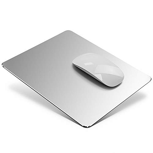Tappetino Mouse in Alluminio, Tappetini per il Mouse da gioco Mouse Pad con base in Gomma Antiscivolo, Impermeabile tappetino Alluminio per Notebook, PC e Laptop, 24x20cm, Argento