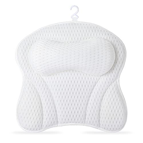 LC&TEAM Bad Kissen Badewannenkissen Nacken Wannenkissen weiß Nackenkissen Badewanne Kissen Set mit 4D-Air-Mesh-Technologie Kopfkissen mit 6 Saugnäpfen Spa-Kissen als Kopf, Schulter und Nackenstütze