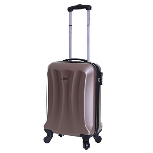 Slimbridge Hard Shell Cabin Carry-on Hand Luggage Suitcase Bag 55 cm 2.8 kg 35 litres with 4 Wheels and Number Lock, Lydde (55 cm, Champagne)