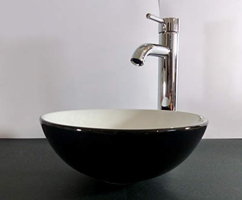 Kleines Aufsatz Keramik Waschbecken schwarz weiß 28cm rund