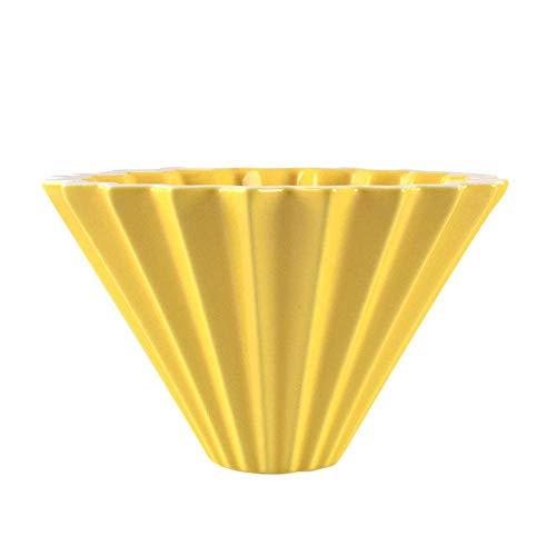 Nfudishpu Moka Kaffeekanne Blumen Keramik Kaffeetasse Kaffee Filter Tasse Origami Filter Tassen Trichter Tropf Hand Tasse Filter, Gelb
