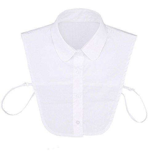 CRAVOG Frauen Kragen Abnehmbare Hälfte Shirt handgefertigte Bluse,Weiß,One Size