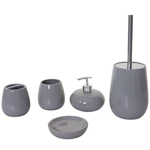 Mendler Set Accessori da Bagno HWC-C72 Ceramica Grigio
