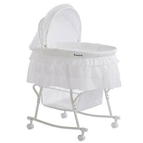 Dream On Me Lacy Portable 2-in-1 Bassinet, White