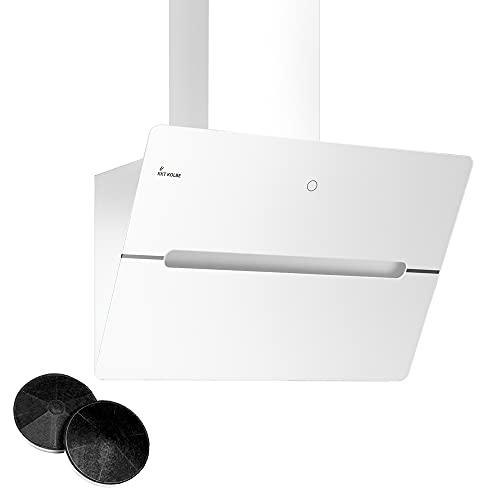 KKT KOLBE Kopffreie Dunstabzugshaube/Wandhaube / 80cm / Edelstahl/Weißes Glas/Extra-leise / 9 Stufen/LED-Beleuchtung/TouchSelect Sensortasten/Nachlaufautomatik / ECCO809W