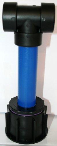CMTech GmbH 'AME90R13_93 Tube d'écoulement avec tube plastique DN32, 100 mm AG 1 + Té, IBC Adaptateur de réservoir d'eau de pluie de Accessoires de conteneurs Mamelon de Bidon