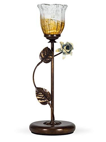 Helios Leuchten 403758/1 Florentiner Tischleuchte Tischlampe | Blüten chabby chic | Florale Lampe Leuchte Kronleuchter Landhausstil | 1 x E14