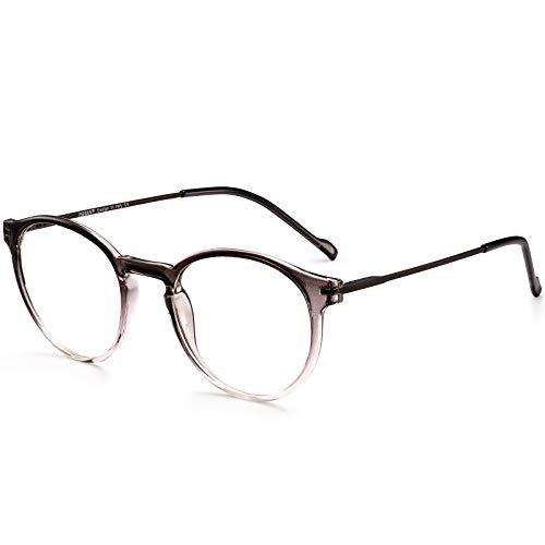 TSEBAN Runde Herren Damen Blaulichtfilter Brille ohne Sehstärke UV400 Brille Bildschirme Anti Müdigkeit Kopfschmerzen Augenschutz