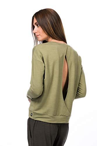 super.natural Jonser Sweat-Shirt en Laine mérinos pour Femme S Bambou