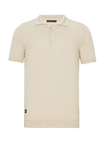 Herren T-Shirt Polo Shirt Casual Vintage Retro Style Kurzarm Strick Gerippt Beige L