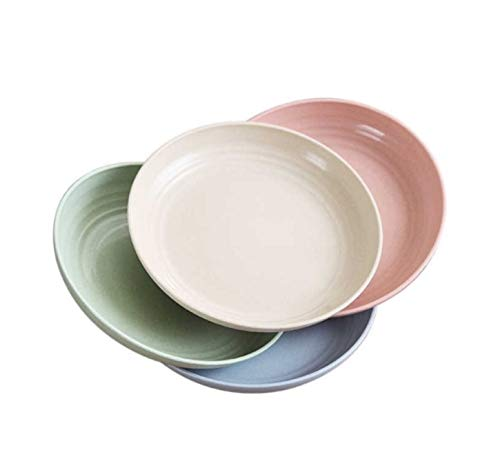 ECOSTAR Wheat Straw Eco-Friendly Plates, Unbreakable, Dishwasher & Microwave Safe and BPA free Snack Dishes - For Kids, Toddlers & Adults (4, 22.5cm/8.8in)