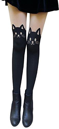 AM Landen Cute Women's Tight S-M size Japanese Cat Kitten Face with Tail Fun Tatoo Printed Pantyhose