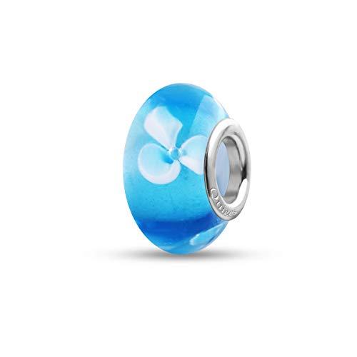 Preisvergleich Produktbild Quiges Glas Bead Perle für Damen Handgemacht Blau Transparent mit weißen Blumen