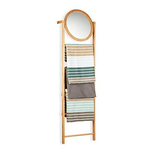 Relaxdays Bamboe handdoekhouder met 4 standen, handdoekladder om aan te leunen, handdoekstangen en spiegel voor badkamer, natuur