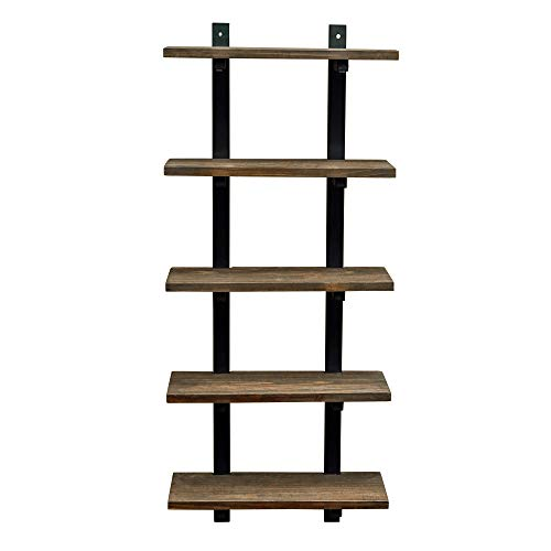 Alaterre Furniture Sonoma 48' Tall 5 Metal and Solid Wood, Natural Bath Wall Shelf, 48 Inch