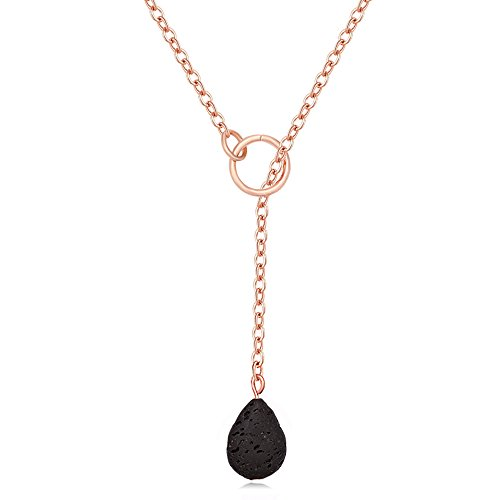 MANZHEN Black Natural Lava-Rock Stone Pendant Necklace Aromatherapy Essential Oil Diffuser Jewelry (Teardrop Rose Gold)