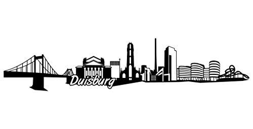 Samunshi® Duisburg Skyline Aufkleber Sticker Autoaufkleber City Gedruckt in 7 Größen (15x3,2cm schwarz)