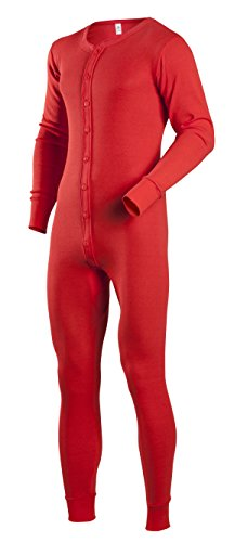 Indera Men's Tall Cotton 1 x 1 Rib Union Suit, Red, X-Large