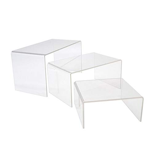 Clear Acrylic Display Risers for Shows Jewelry Cosmetics Decorative Stands Showcase 3D Shelf 3 Sided Lift stand Holder Kits (Set of 2)