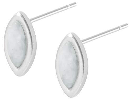 Sence Copenhagen K527 - Orecchini da donna in argento con acquamarina Secret Garden 2019, serie Birch Earstuds, argento opaco, con pietra acquamarina