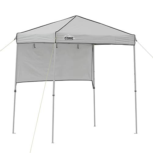 Core Instant Straight Leg Canopy Tent with Adjustable Sun Wall, 6 ft x 4 ft , Gray