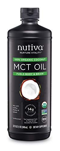 Nutiva Organic MCT Oil, Unflavored, 32 OunceUSDA Organic, Non-GMO, Non-BPA Vegan, Gluten-Free, Keto & Paleo 14g MCT per Serving & Neutral Flavor for Energy Boost to Coffee, Shakes and Salads