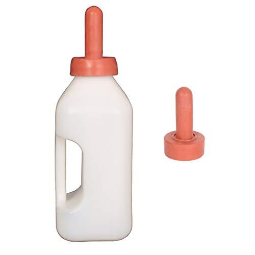 Colcolo Biberón 2L de Silicona Y Plástico para Becerros con Asa + Niple Suave para Cubo