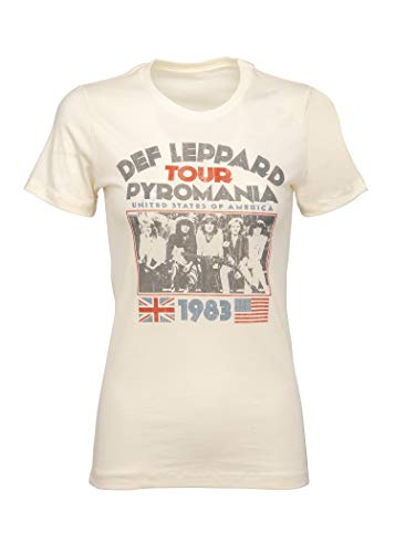 Def Leppard Womens Pyromania Tour Band T-Shirt Tee – Size Large White